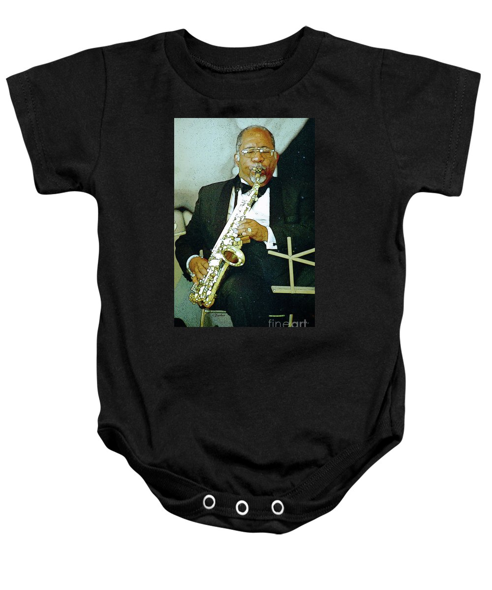 Abstract Baby Onesie featuring the photograph Music Man Saxophone 2 by Linda Parker