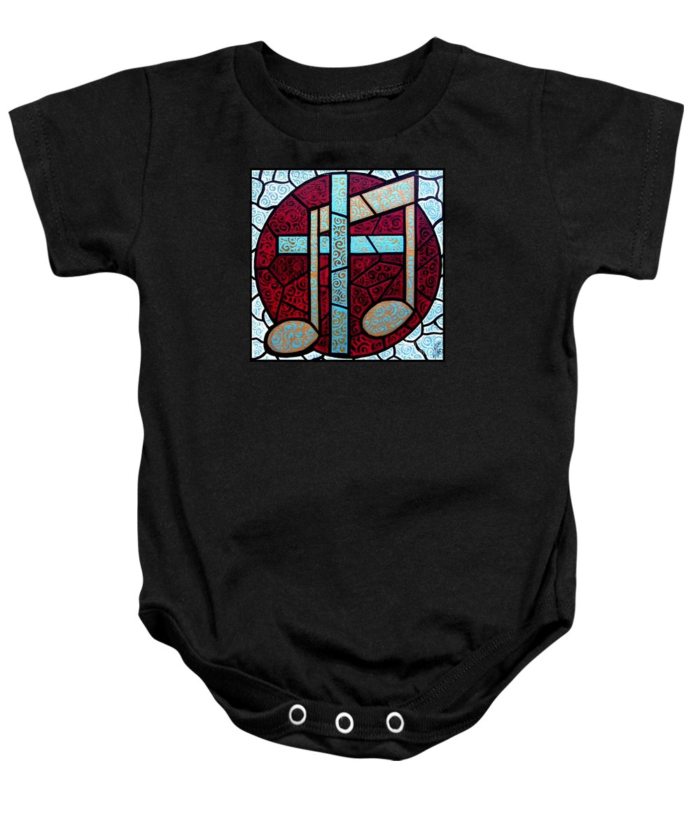 Cross Baby Onesie featuring the painting Music Of The Cross by Jim Harris
