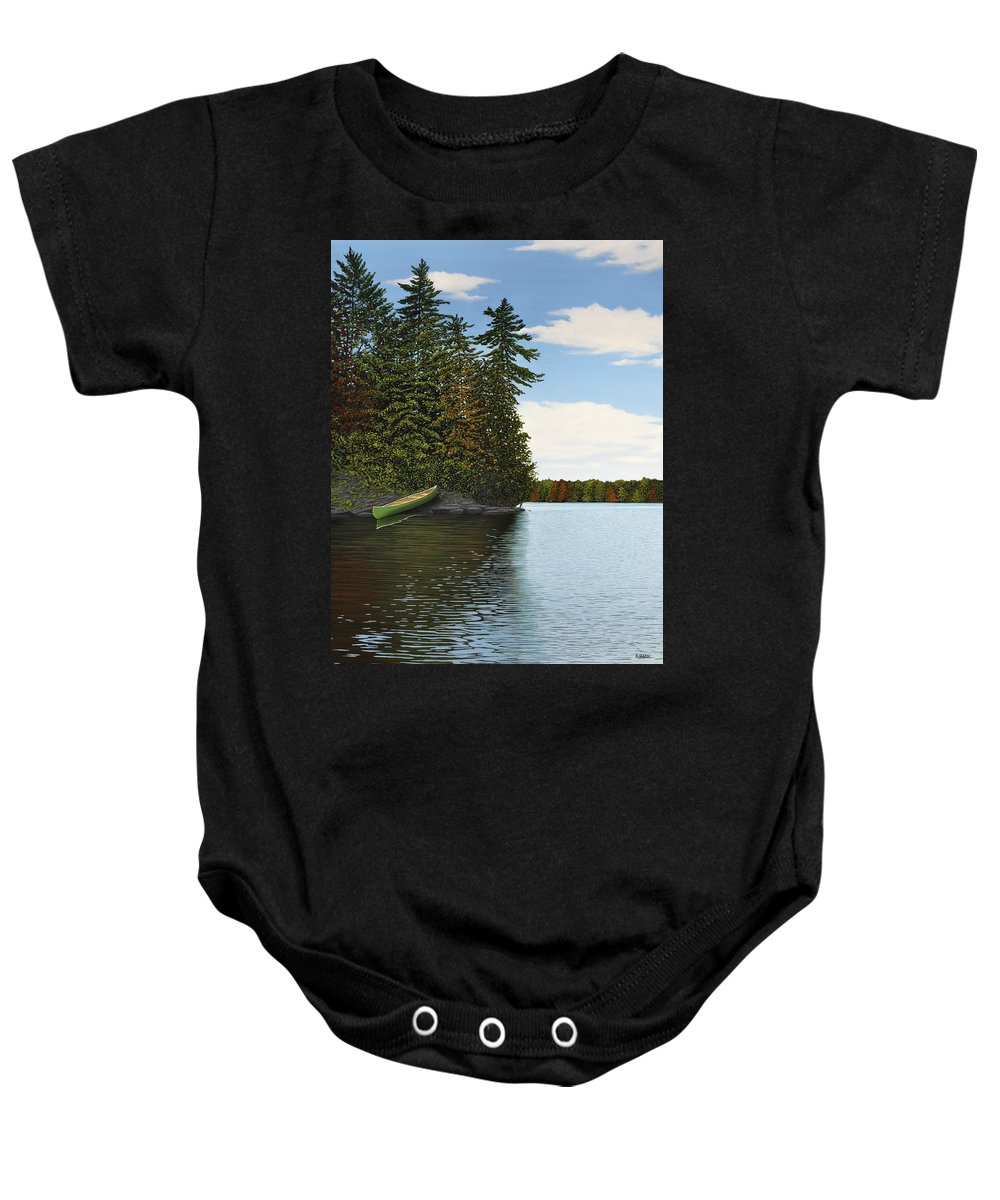 Rocks Baby Onesie featuring the painting Muskoka Shores by Kenneth M Kirsch