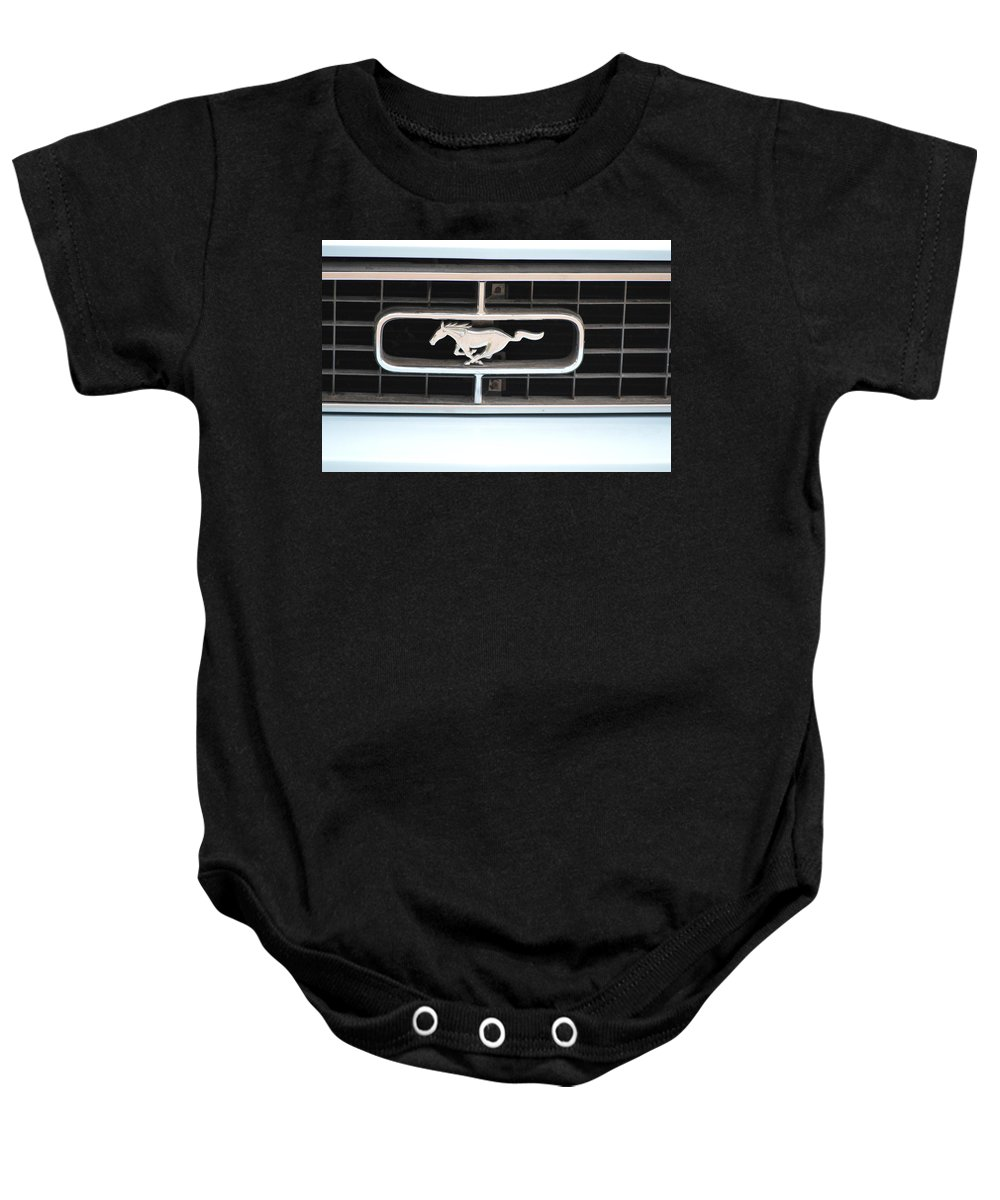 60s Baby Onesie featuring the photograph Mustang Logo by Bonfire Photography