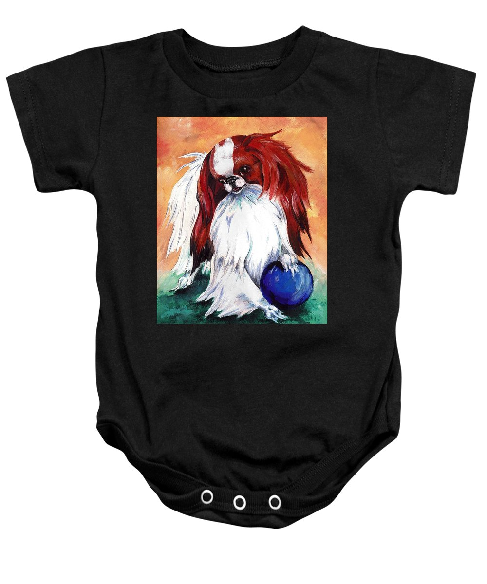 Japanese Chin Baby Onesie featuring the painting My Ball by Kathleen Sepulveda