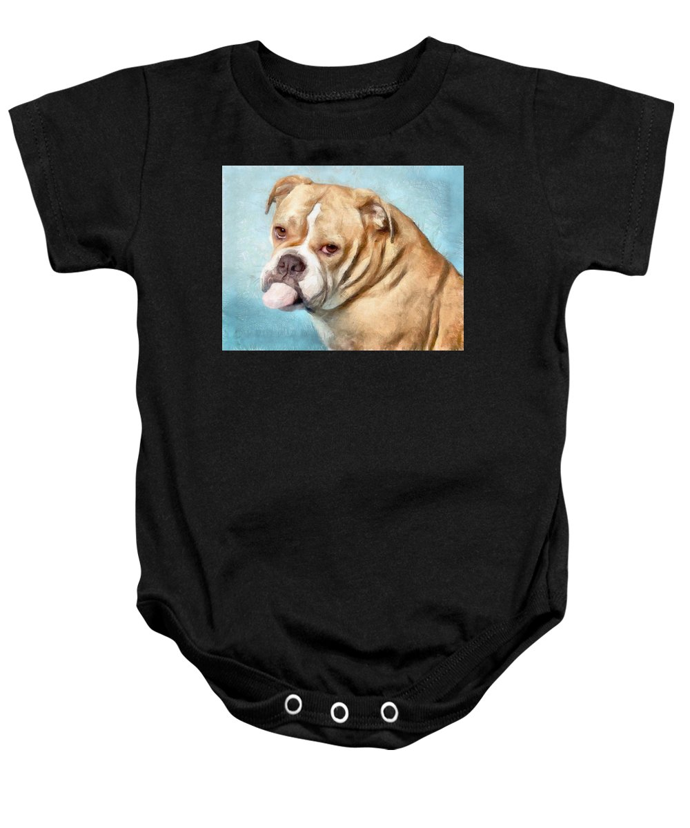 Dog Baby Onesie featuring the painting My Friend Binny by Sachin Tango