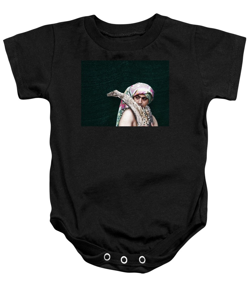 Expressive Baby Onesie featuring the photograph My Friend Bobby by Lenore Senior