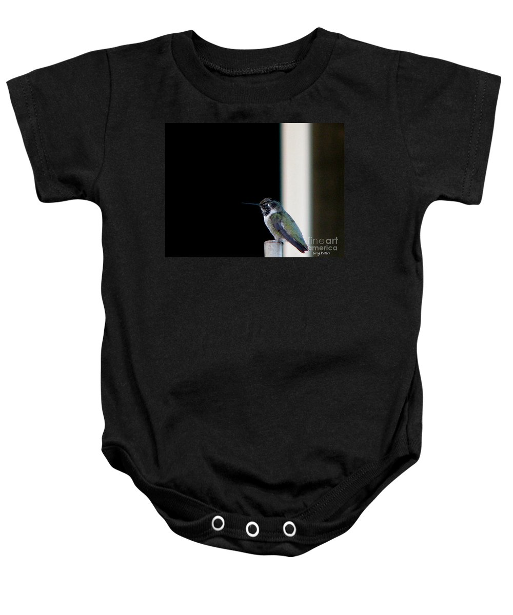 Patzer Baby Onesie featuring the photograph My Friend Stop By by Greg Patzer