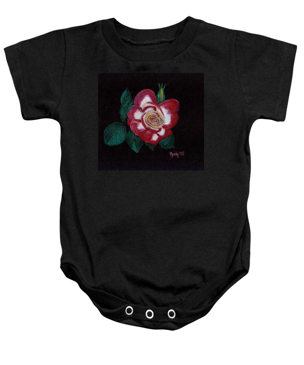 Rose Baby Onesie featuring the pastel My Grandma's Rose by Mendy Pedersen
