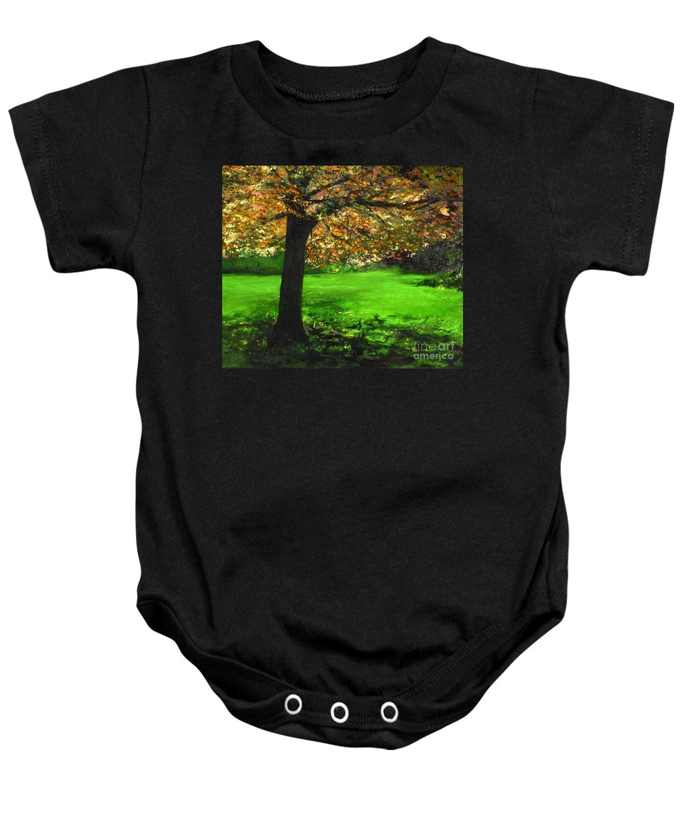 Spiritualism Baby Onesie featuring the painting My Love Of Trees I by Lizzy Forrester