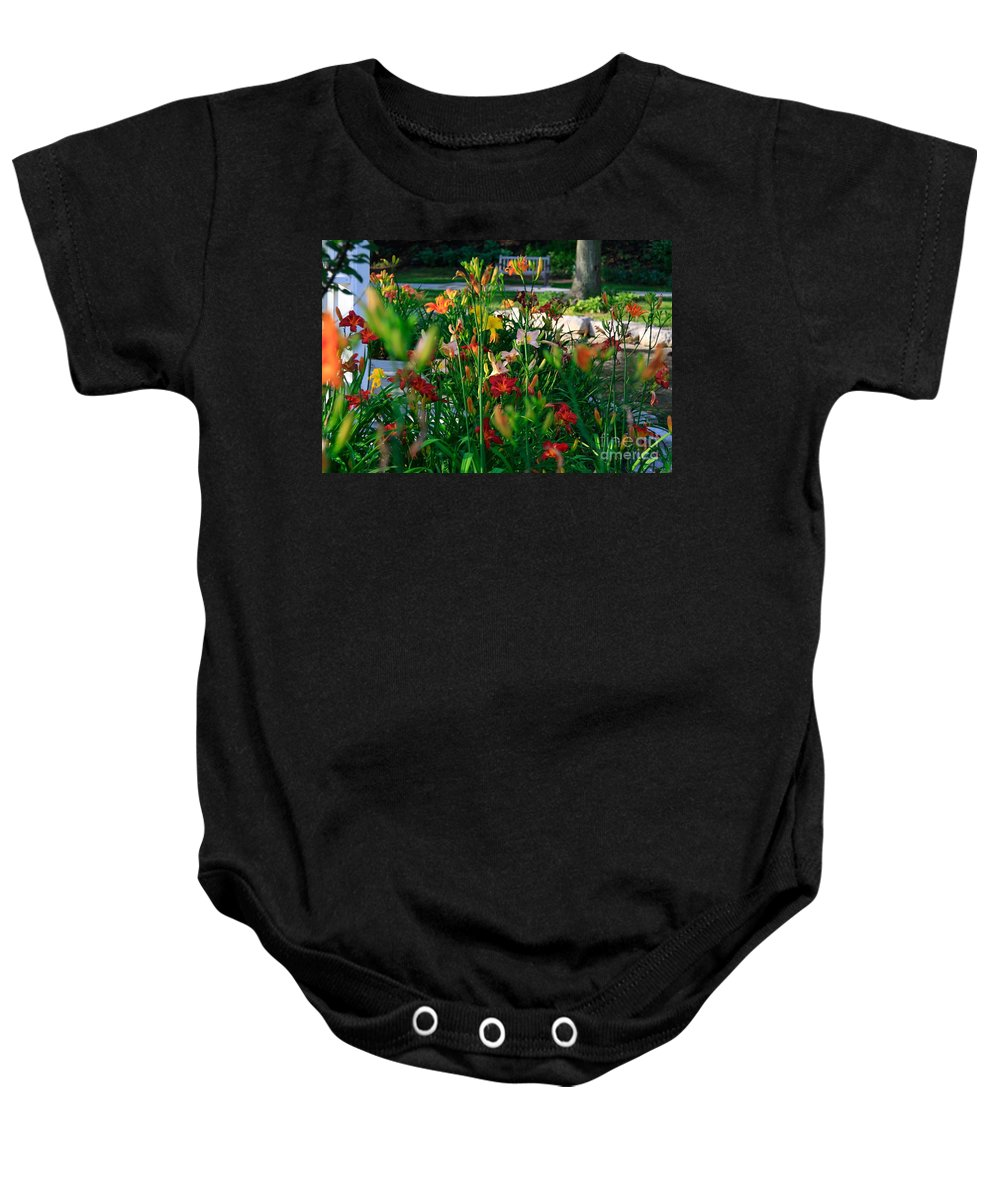 Lily Baby Onesie featuring the photograph My Secret Garden-5 by Robert Pearson