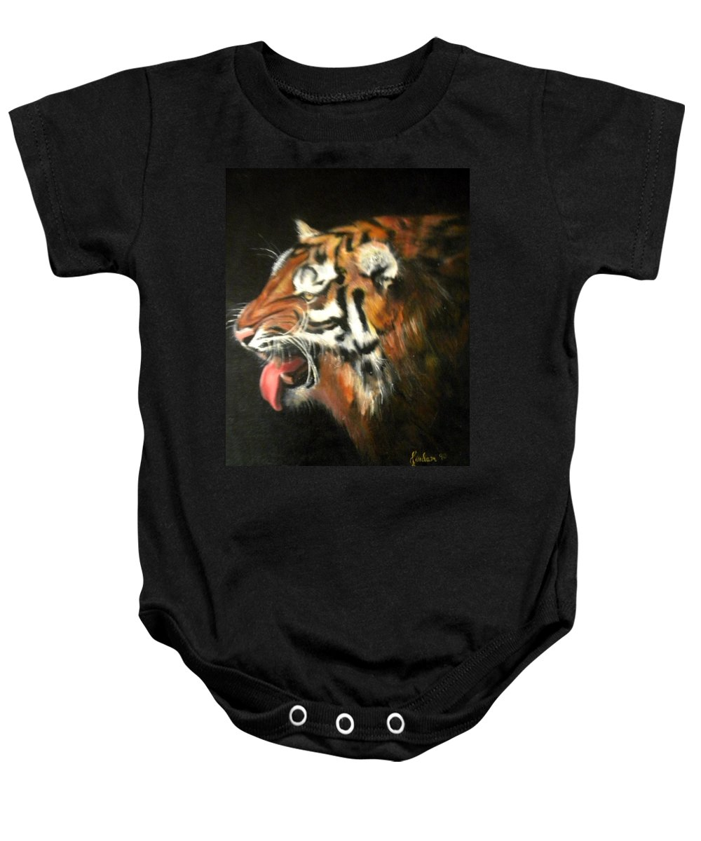 Tiger Baby Onesie featuring the painting My Tiger - The Year Of The Tiger by Jordana Sands