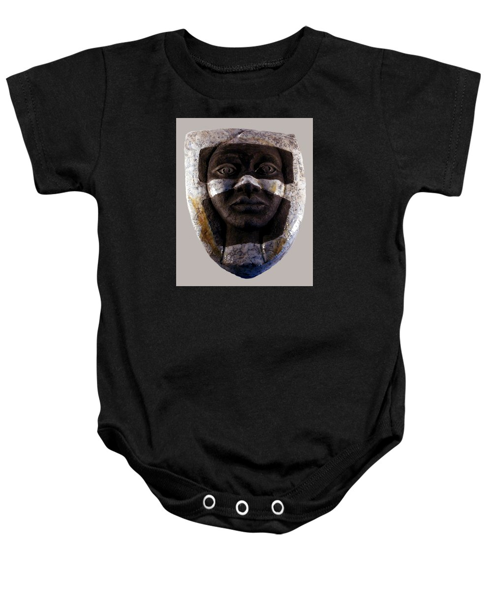 Ceramic Baby Onesie featuring the relief My Veils I by Madalena Lobao-Tello