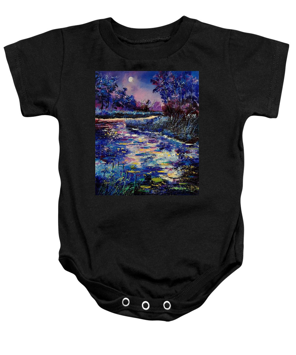 Water Baby Onesie featuring the painting Mysterious Blue Pond by Pol Ledent