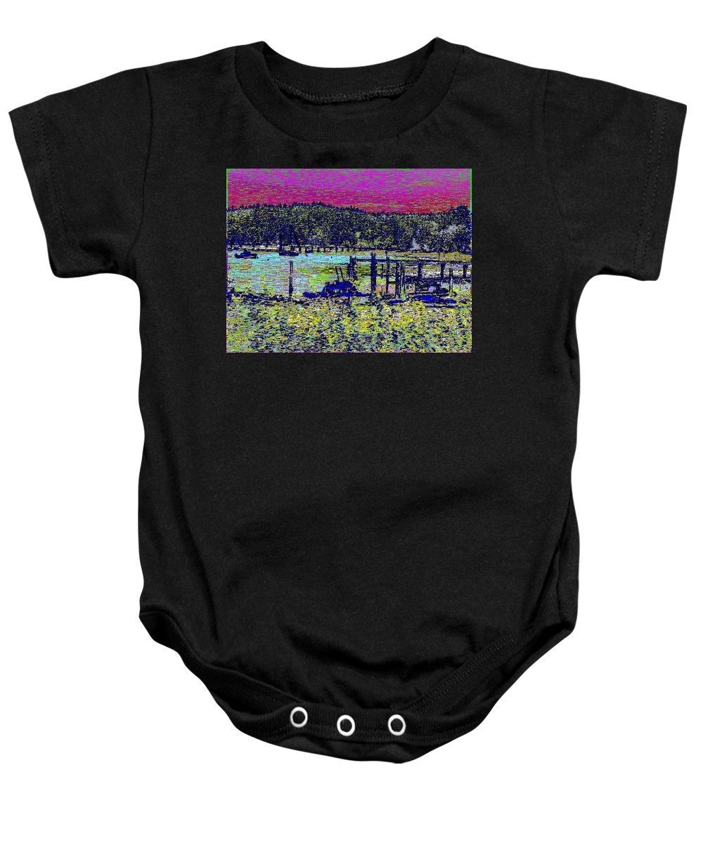 Mystery Bay Baby Onesie featuring the digital art Mystery Bay At Sunset by Tim Allen