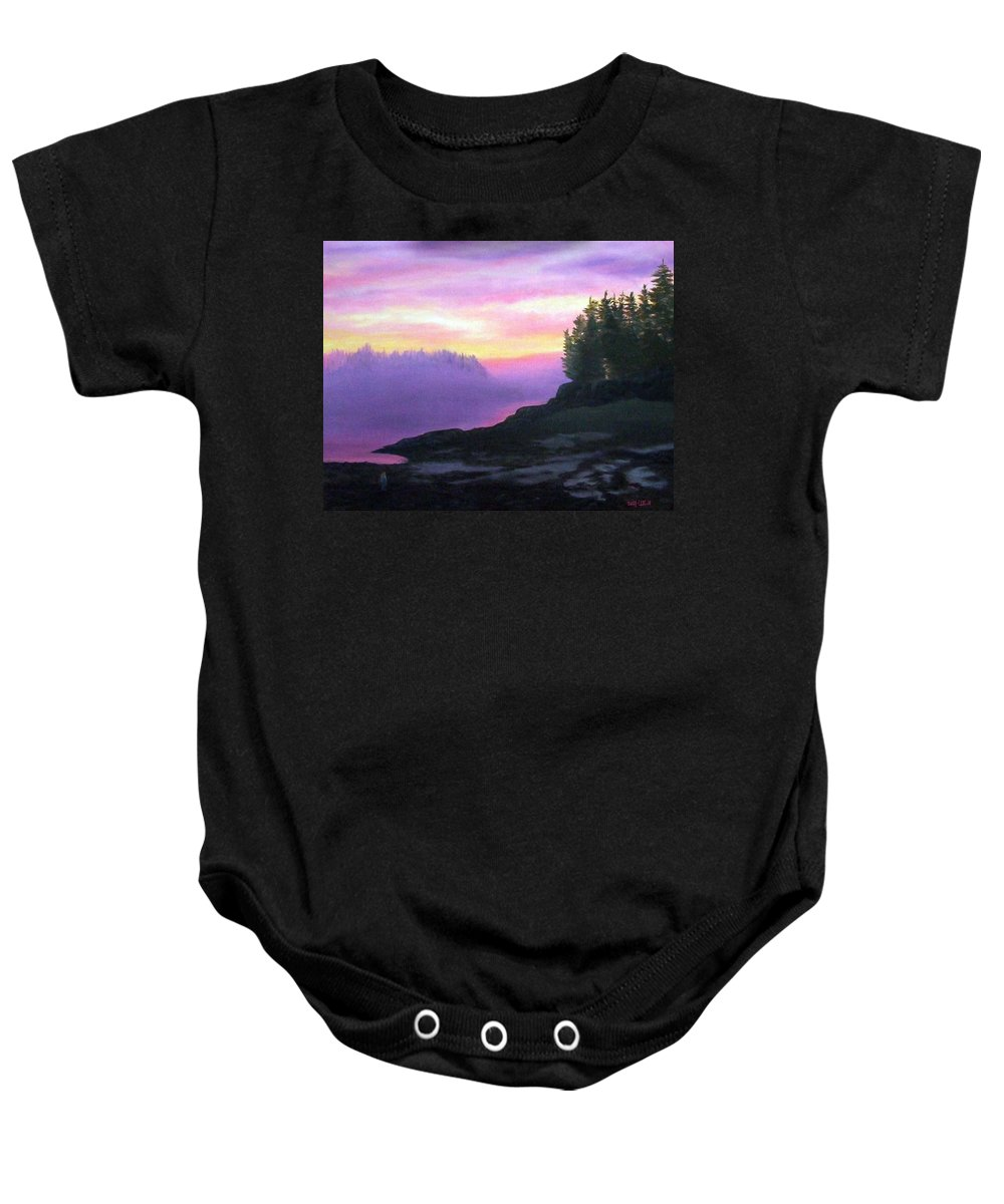 Sunset Baby Onesie featuring the painting Mystical Sunset by Sharon E Allen