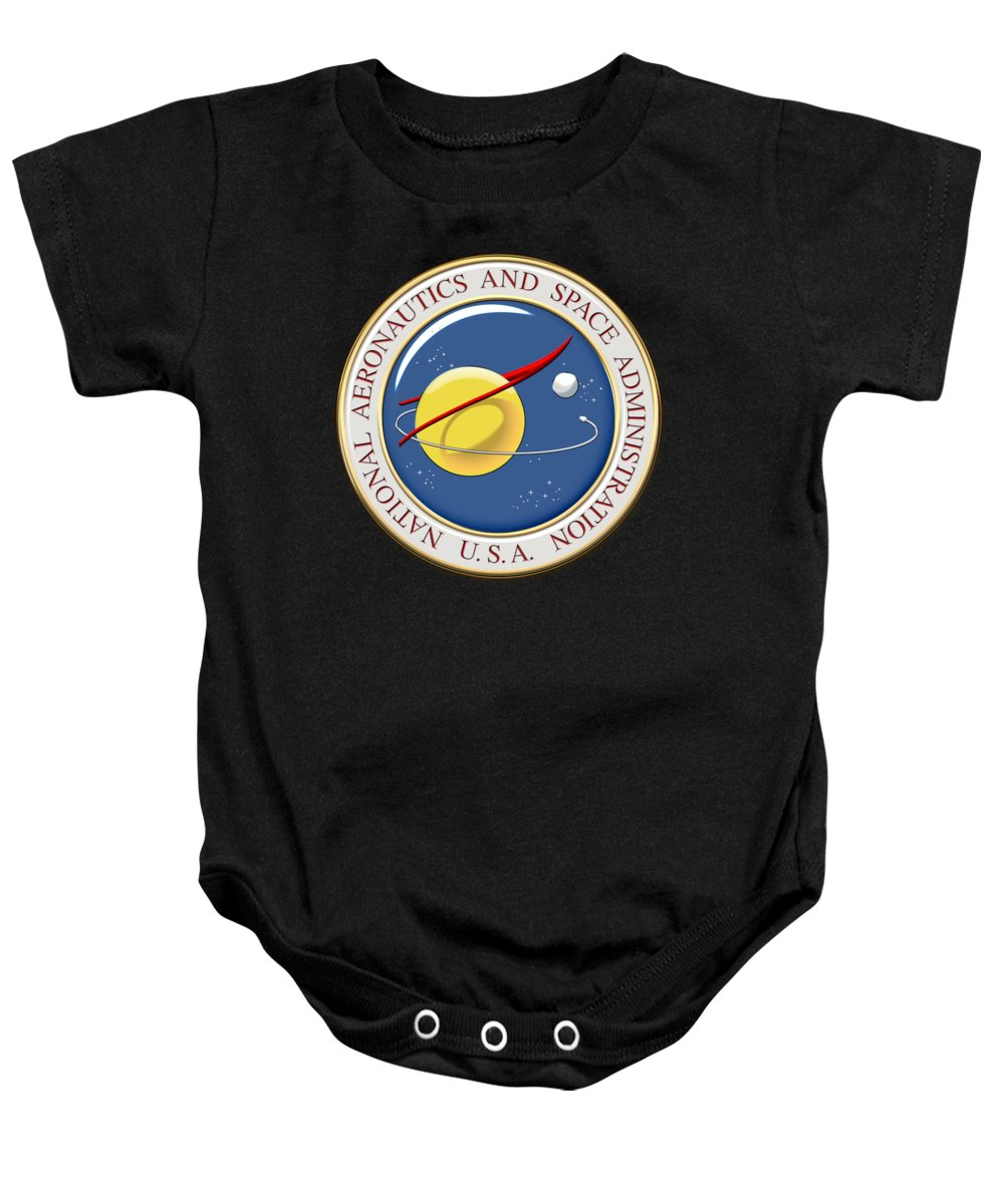 'insignia 3d' By Serge Averbukh Baby Onesie featuring the digital art N A S A Emblem Over Black Velvet by Serge Averbukh