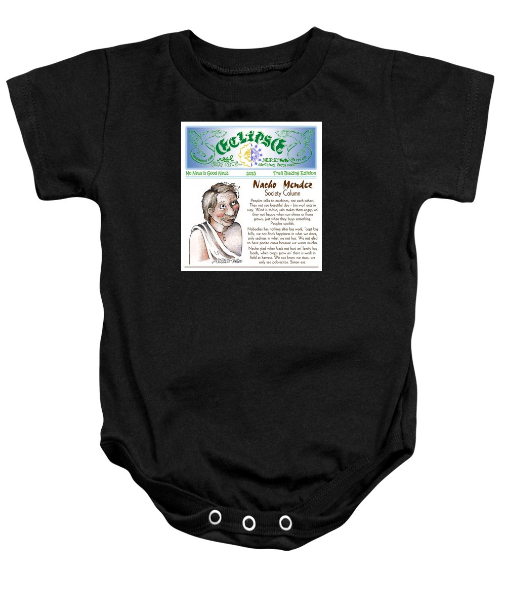 News Art Baby Onesie featuring the painting Real Fake News Society Column 1 by Dawn Sperry
