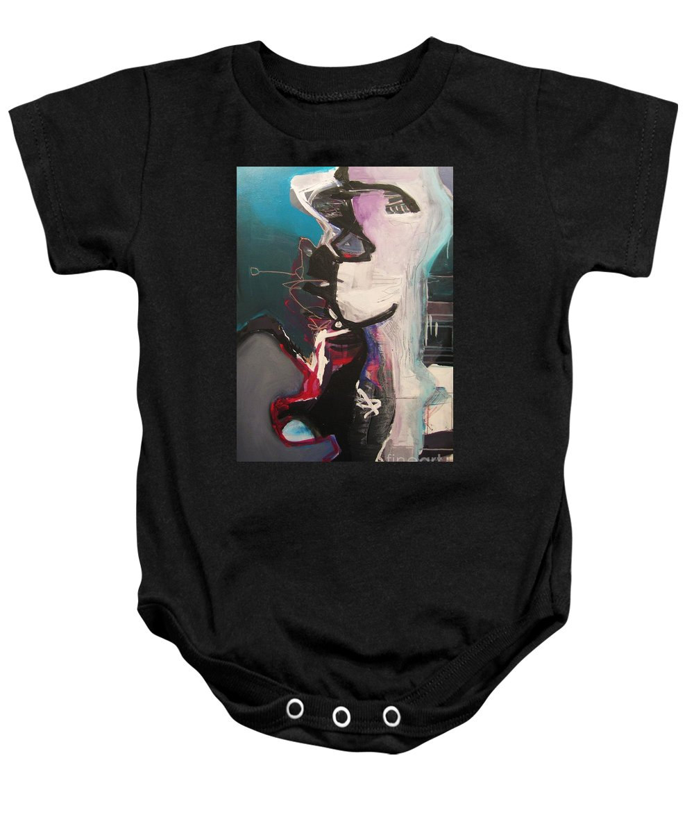 Abstract Art Paintings Baby Onesie featuring the painting Nagging Voice by Seon-Jeong Kim