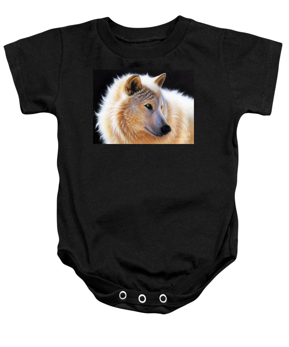 Acrylic Baby Onesie featuring the painting Nala by Sandi Baker