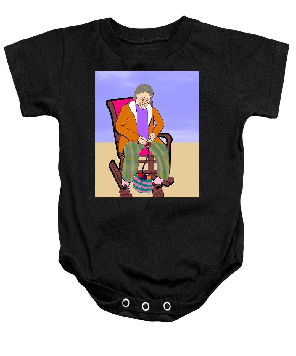 Grandmother Baby Onesie featuring the digital art Nana Knitting by Pharris Art