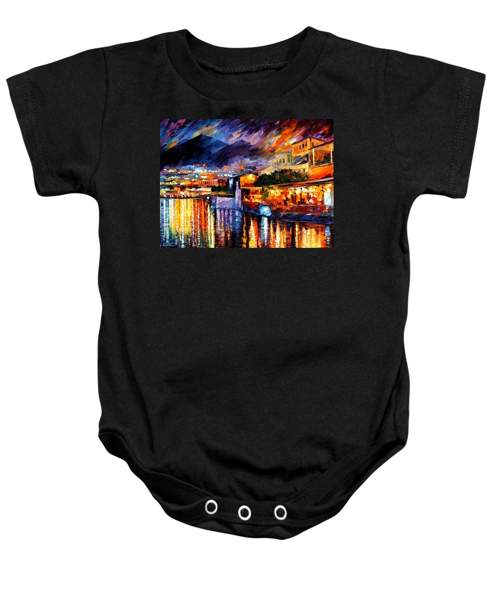 Afremov Baby Onesie featuring the painting Naples - Vesuvius by Leonid Afremov