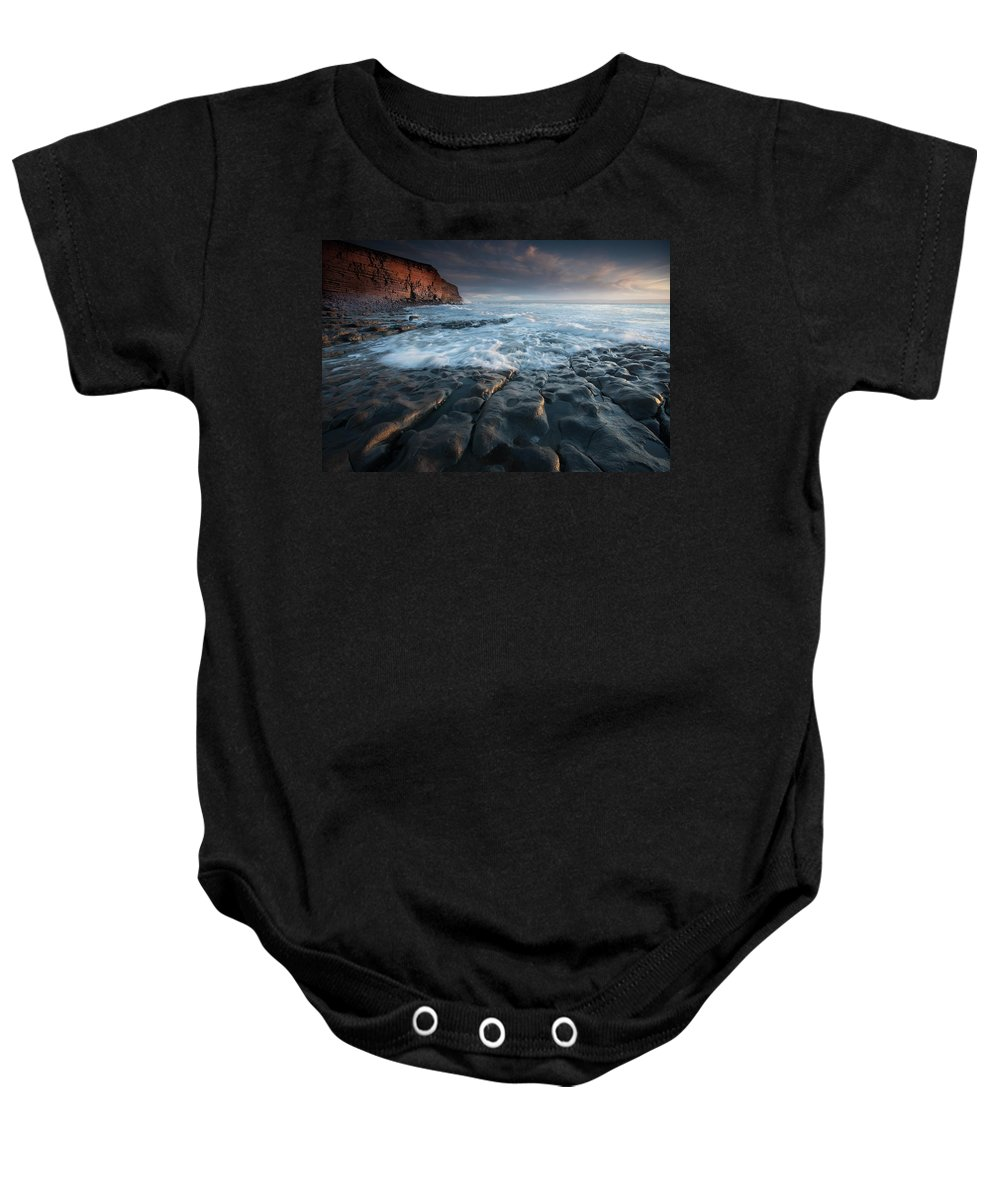Wales Baby Onesie featuring the photograph Nash Point South Wales by Leighton Collins