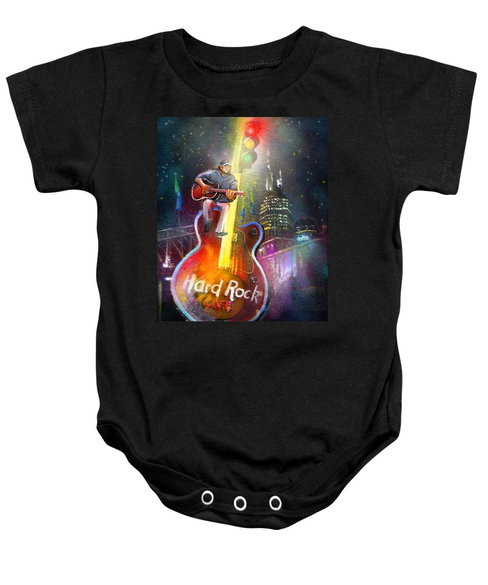 Hard Rock Cafe Baby Onesie featuring the painting Nashville Nights 01 by Miki De Goodaboom