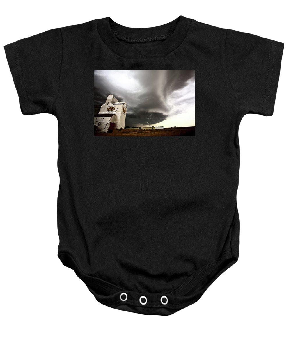 Grain Elevator Baby Onesie featuring the digital art Nasty Looking Cumulonimbus Cloud Behind Grain Elevator by Mark Duffy