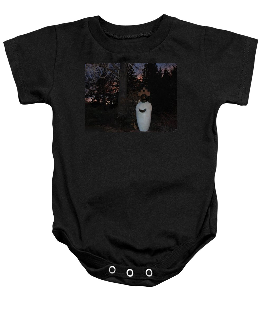 Trees Baby Onesie featuring the photograph Native American Sculpture At The State Capital by Rob Hans