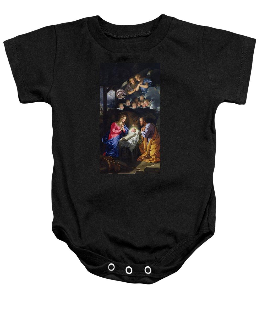 Jesus;infant Christ;virgin Mary;madonna;joseph;cherubim;seraphim;angels;angel;swaddling Clothes;praying;prayer;stable; Christ Baby Onesie featuring the painting Nativity by Philippe de Champaigne