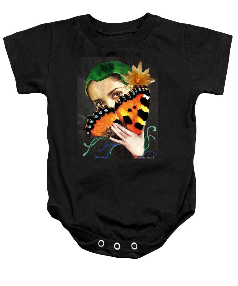 Woman Baby Onesie featuring the mixed media Natural Beauty by Sarah Loft