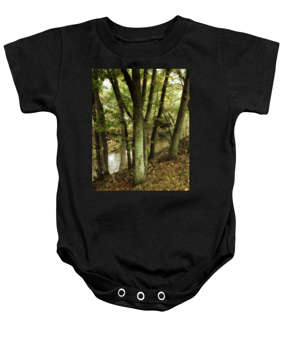 Trees In Forest Baby Onesie featuring the photograph Nature Walk Along The Stream by Gothicrow Images