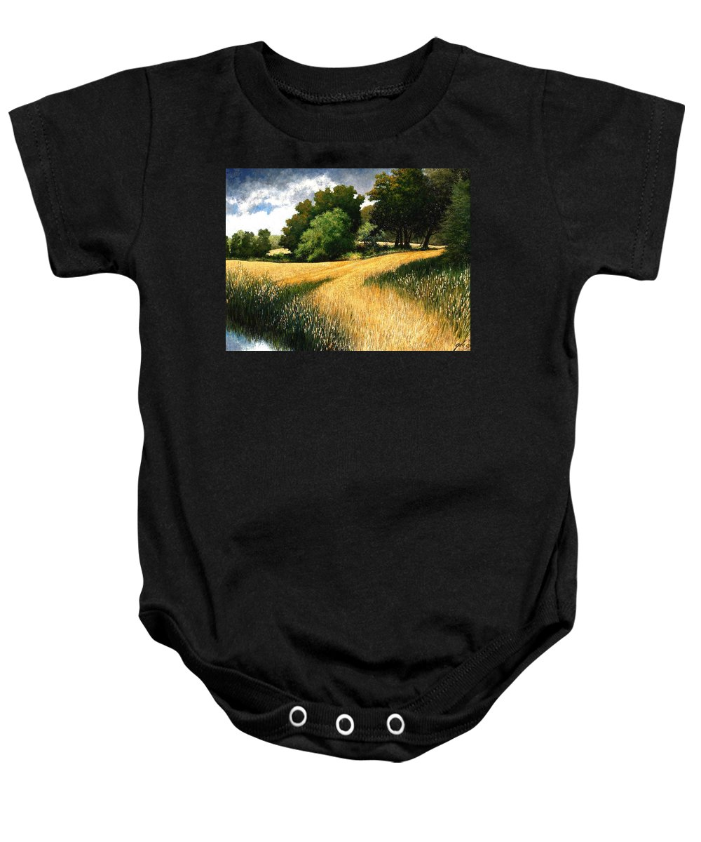 Landscape Baby Onesie featuring the painting Nature Walk Ridgefield Washington by Jim Gola