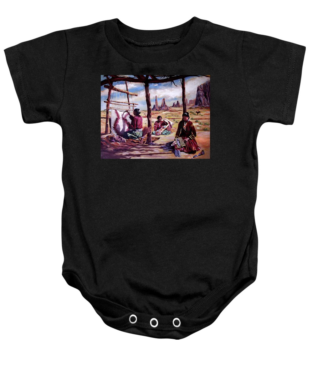 Native American Baby Onesie featuring the painting Navajo Weavers by Nancy Griswold