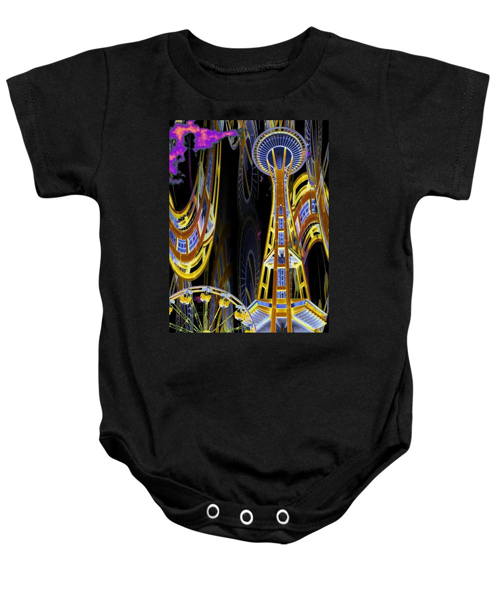 Seattle Baby Onesie featuring the digital art Needle And Ferris Wheel by Tim Allen
