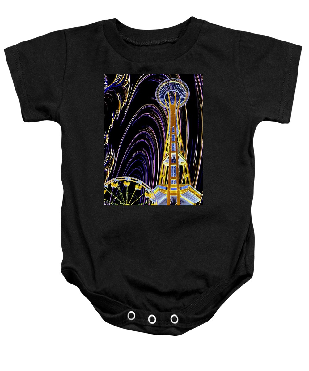 Seattle Baby Onesie featuring the photograph Needle And The Firefly by Tim Allen