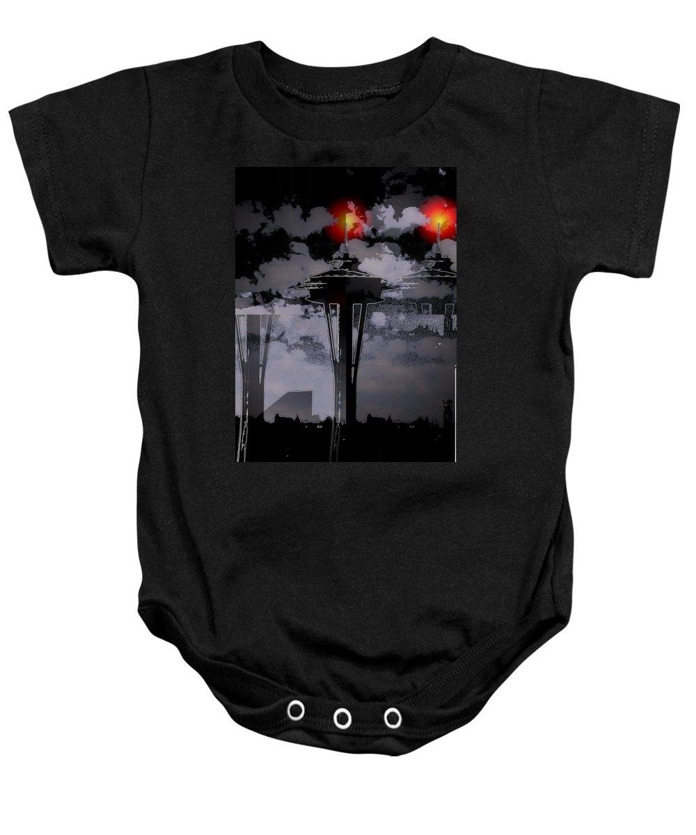 Seattle Baby Onesie featuring the digital art Needle In Flux by Tim Allen