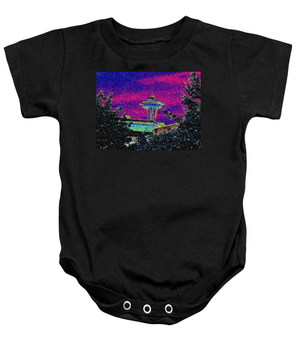 Seattle Baby Onesie featuring the photograph Needle In Mosaic 2 by Tim Allen