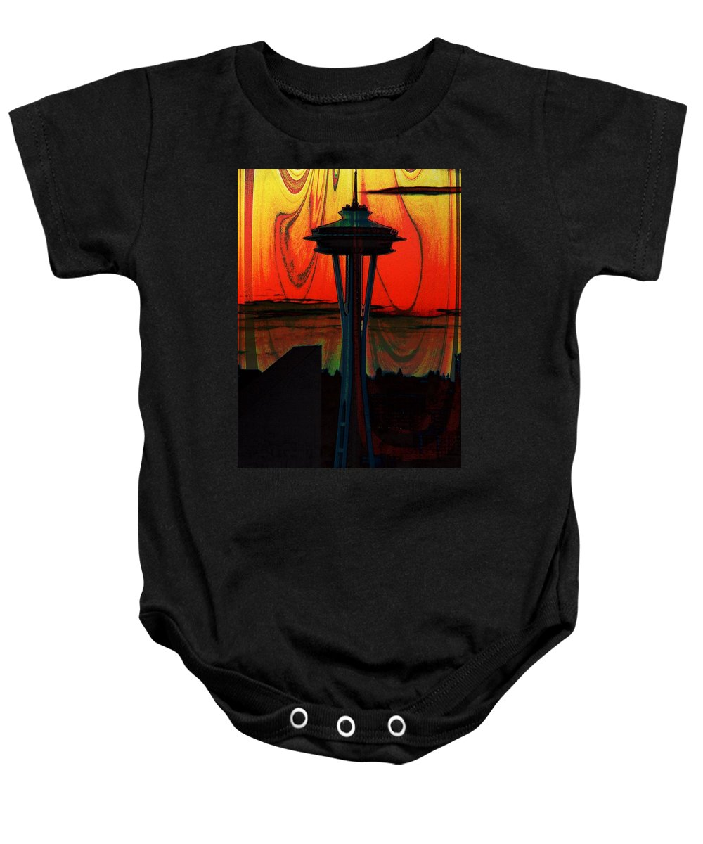 Seattle Baby Onesie featuring the photograph Needle Silhouette 2 by Tim Allen
