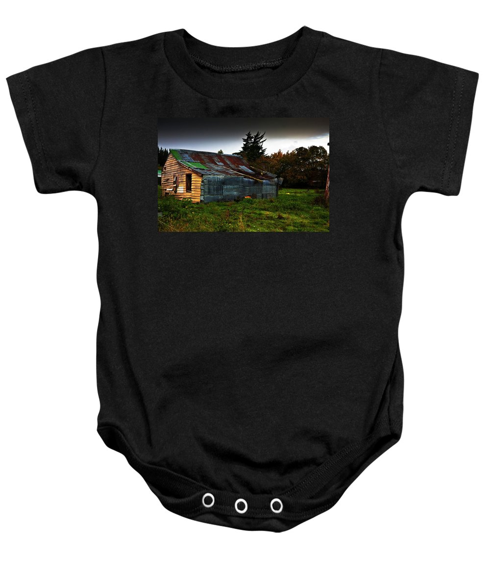 Shack Baby Onesie featuring the photograph Needs Work by Sheila Smart Fine Art Photography
