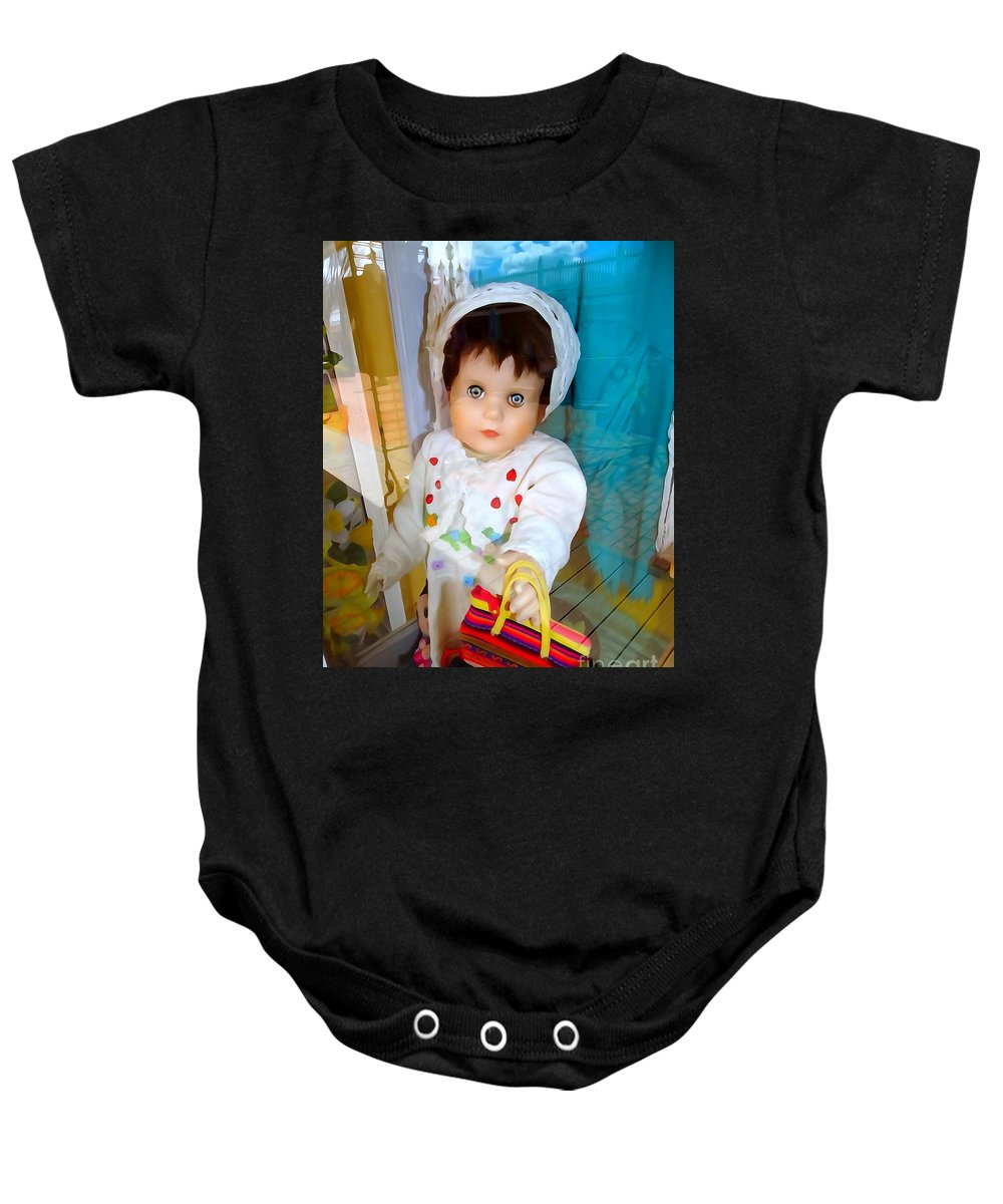 Mannequins Baby Onesie featuring the photograph Nells New Purse by Ed Weidman