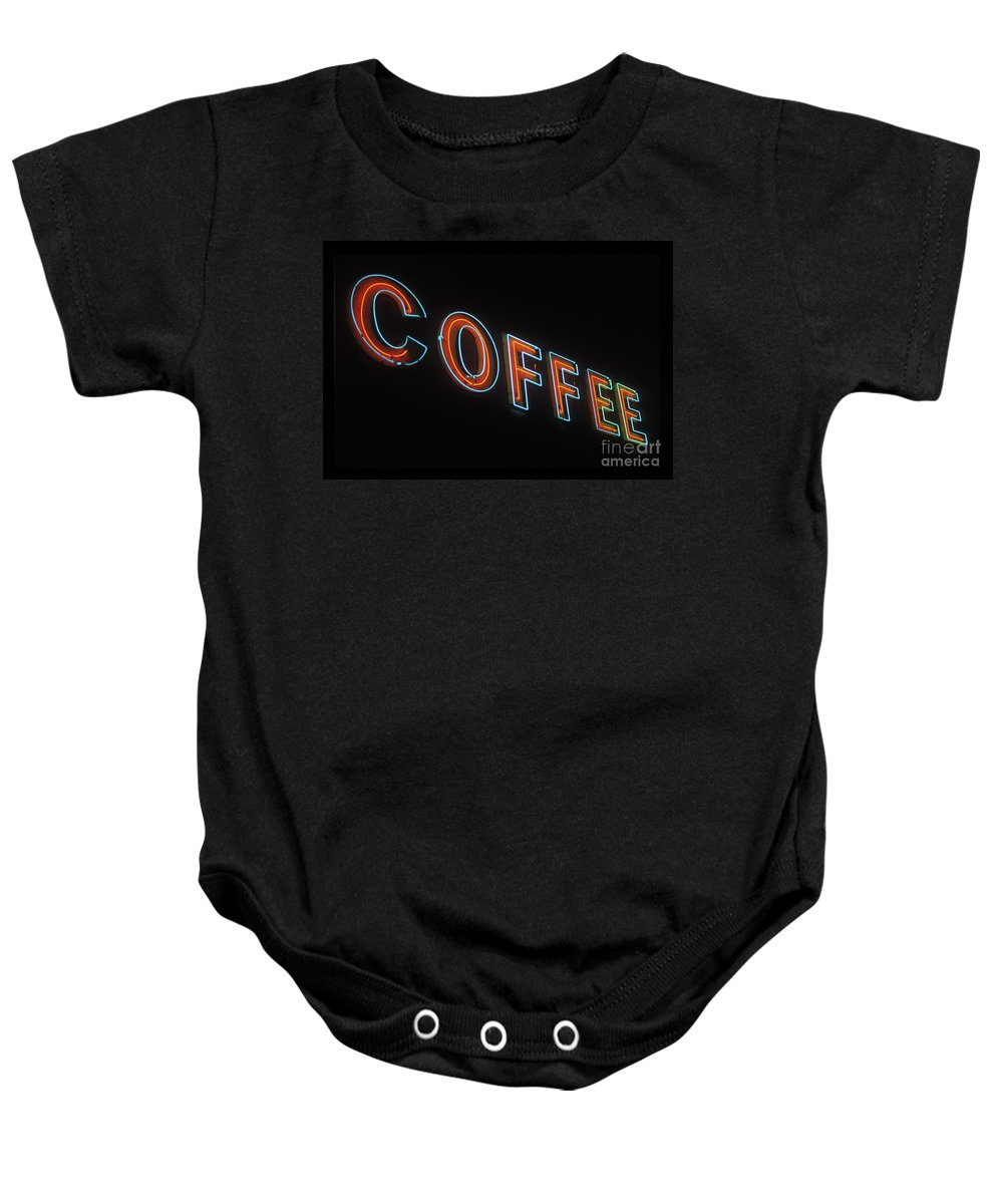Neon Baby Onesie featuring the photograph Neon Coffee by Jim And Emily Bush