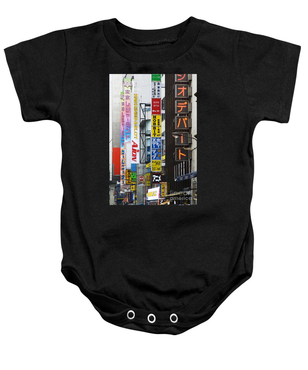 Akihabara Baby Onesie featuring the photograph Neon Sign Street Scene by Bill Brennan - Printscapes