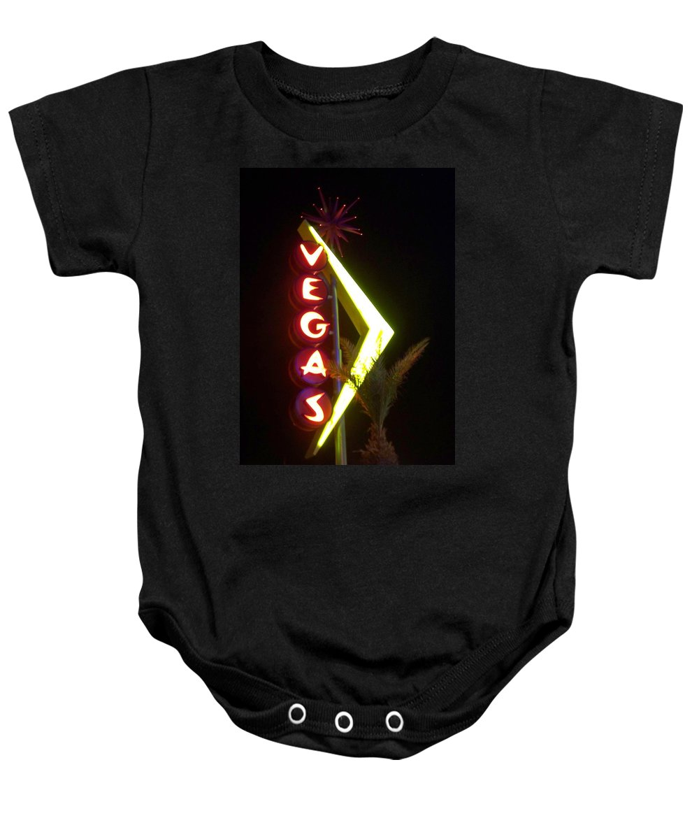 Fremont East Baby Onesie featuring the photograph Neon Signs 2 by Anita Burgermeister