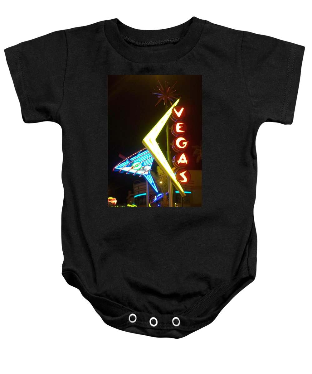 Fremont East Baby Onesie featuring the photograph Neon Signs 3 by Anita Burgermeister