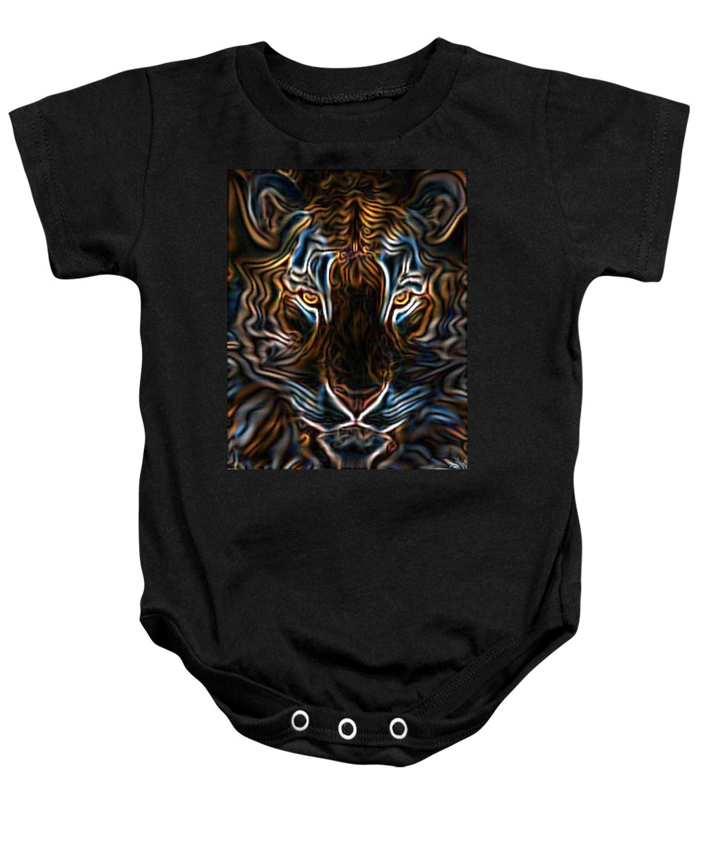 Tiger Wild Animal Neon Cat Glowing Digital Drawing Baby Onesie featuring the digital art Neon Tigress by Andrea Lawrence