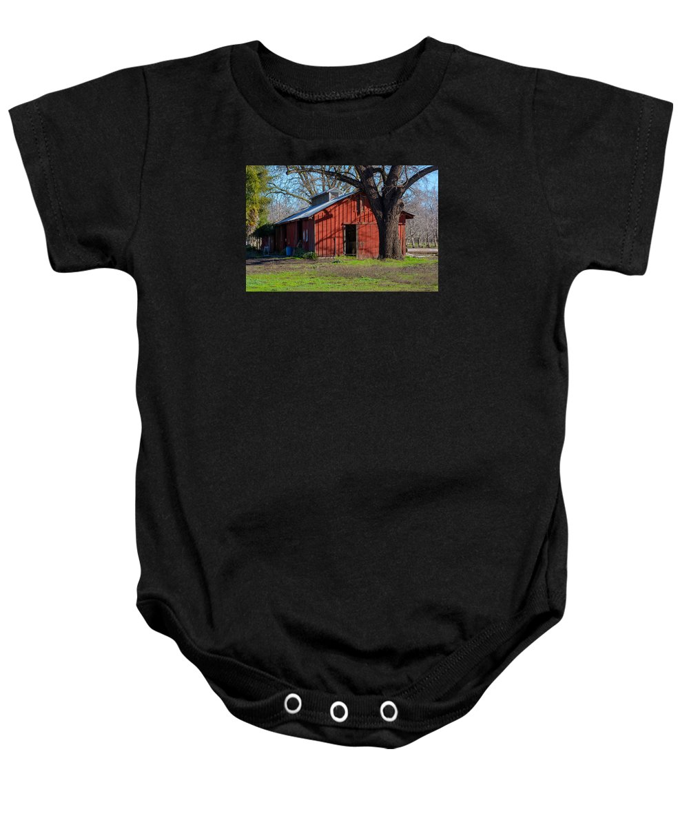 Landscape Baby Onesie featuring the photograph New Clairvaux Abbey Barn by Tikvah's Hope