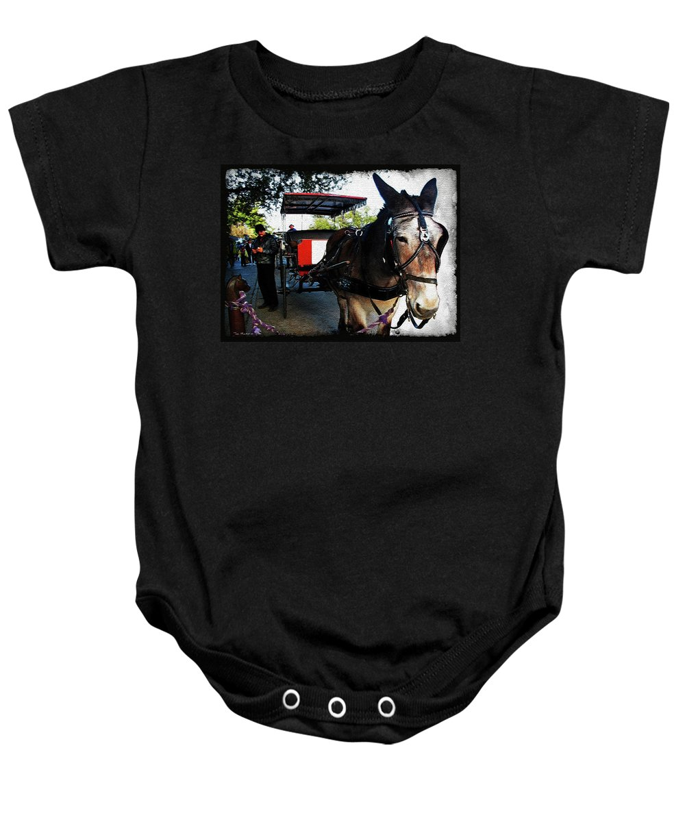 New Orleans Baby Onesie featuring the digital art New Orleans Carriage Ride by Joan Minchak