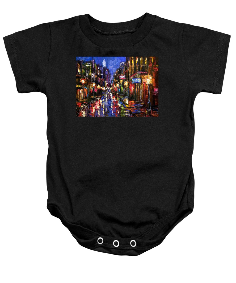 Cityscape Baby Onesie featuring the painting New Orleans Storm by Debra Hurd