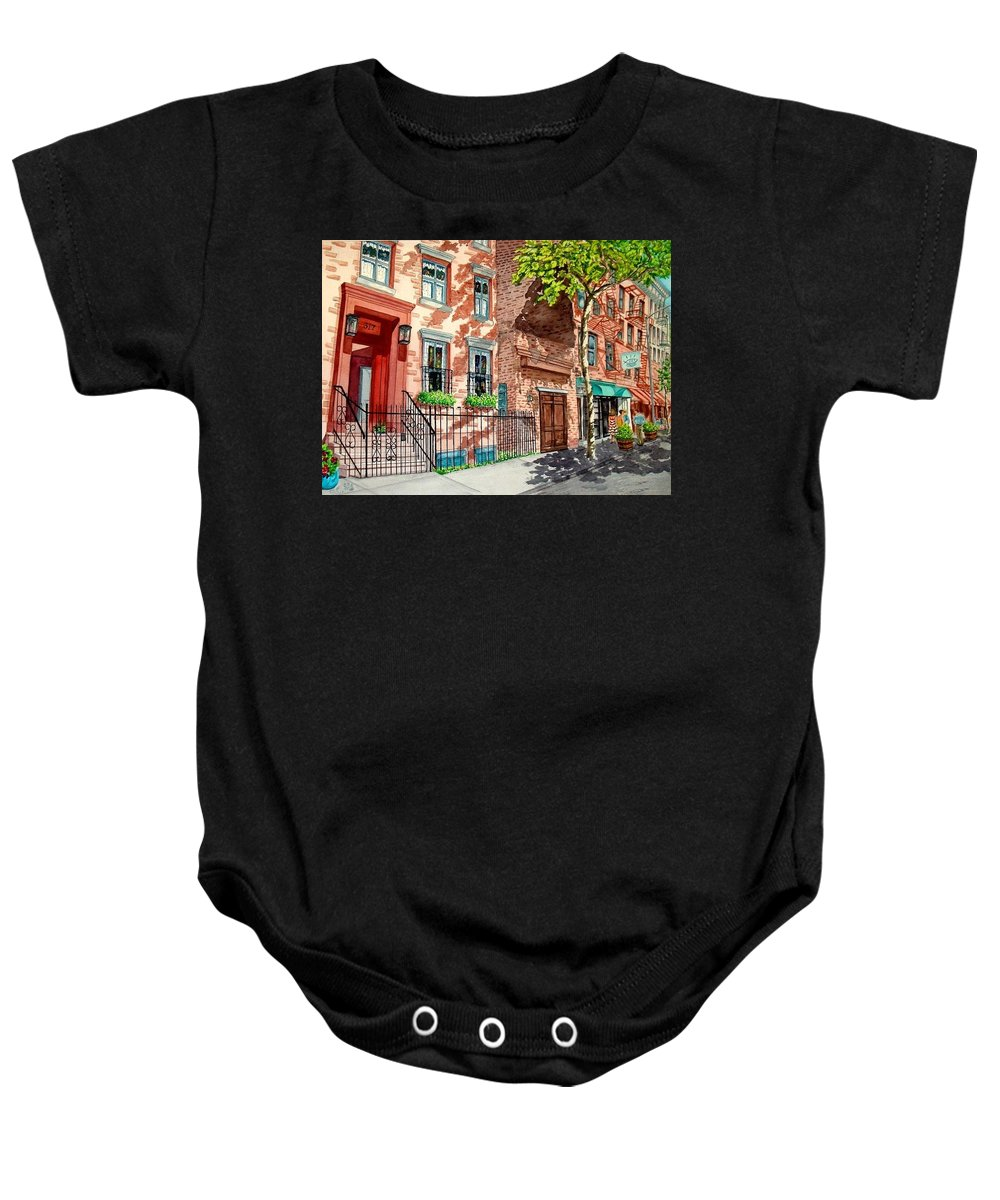 Street Scene Baby Onesie featuring the painting New York by Sonya Catania