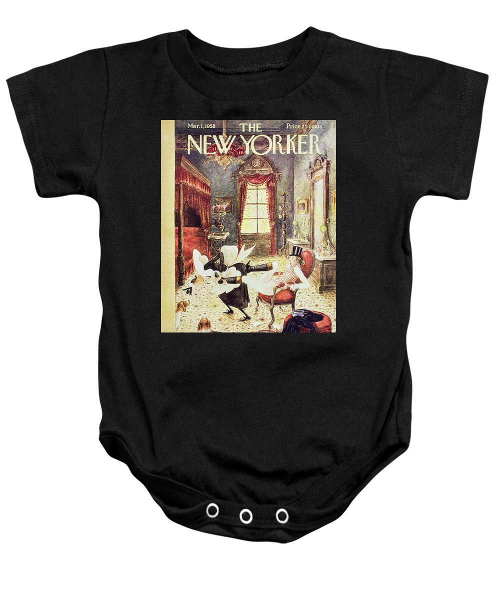 Maid Baby Onesie featuring the painting New Yorker March 1 1958 by Mary Petty