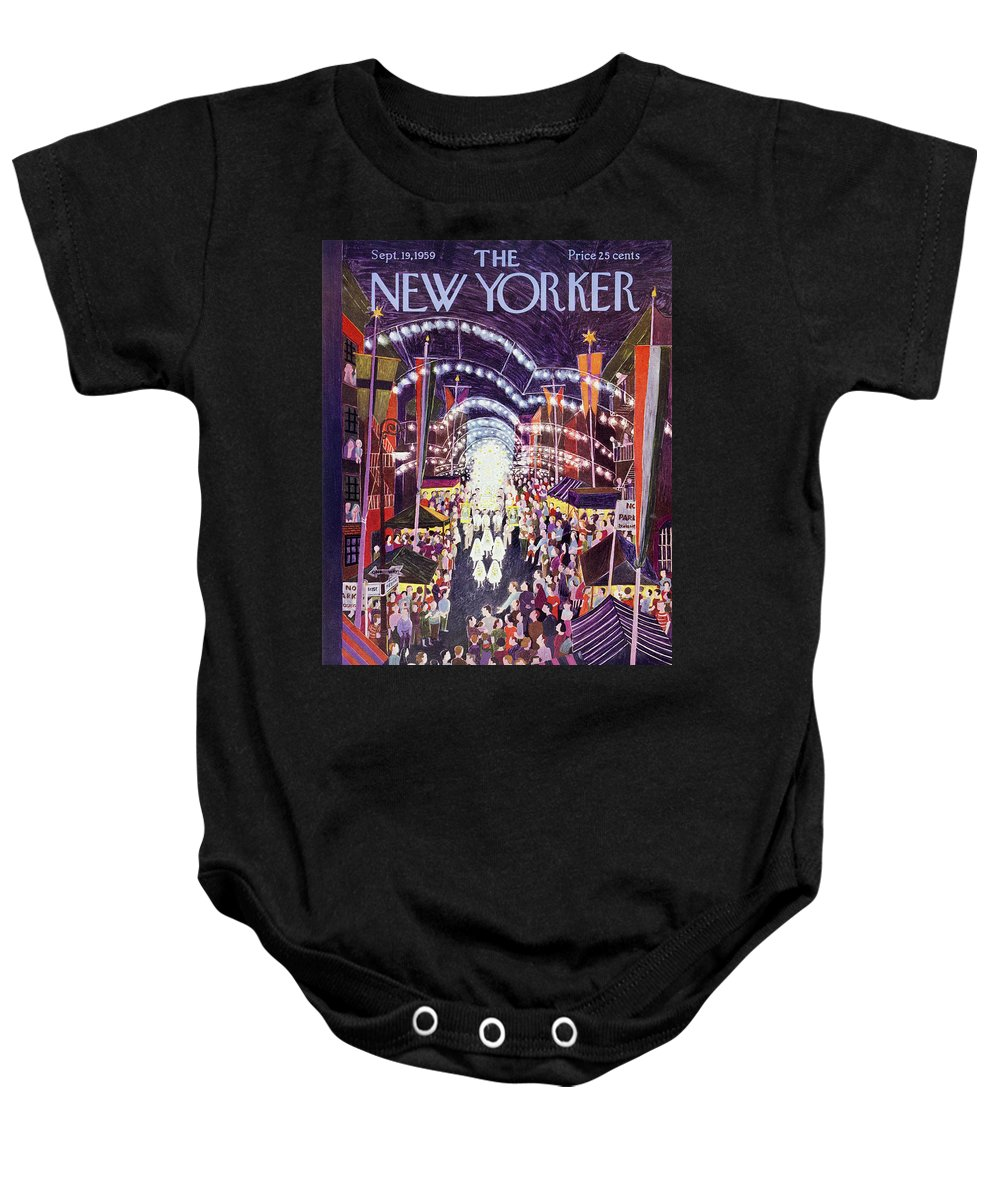 Procession Baby Onesie featuring the painting New Yorker September 19 1959 by Ilonka Karasz