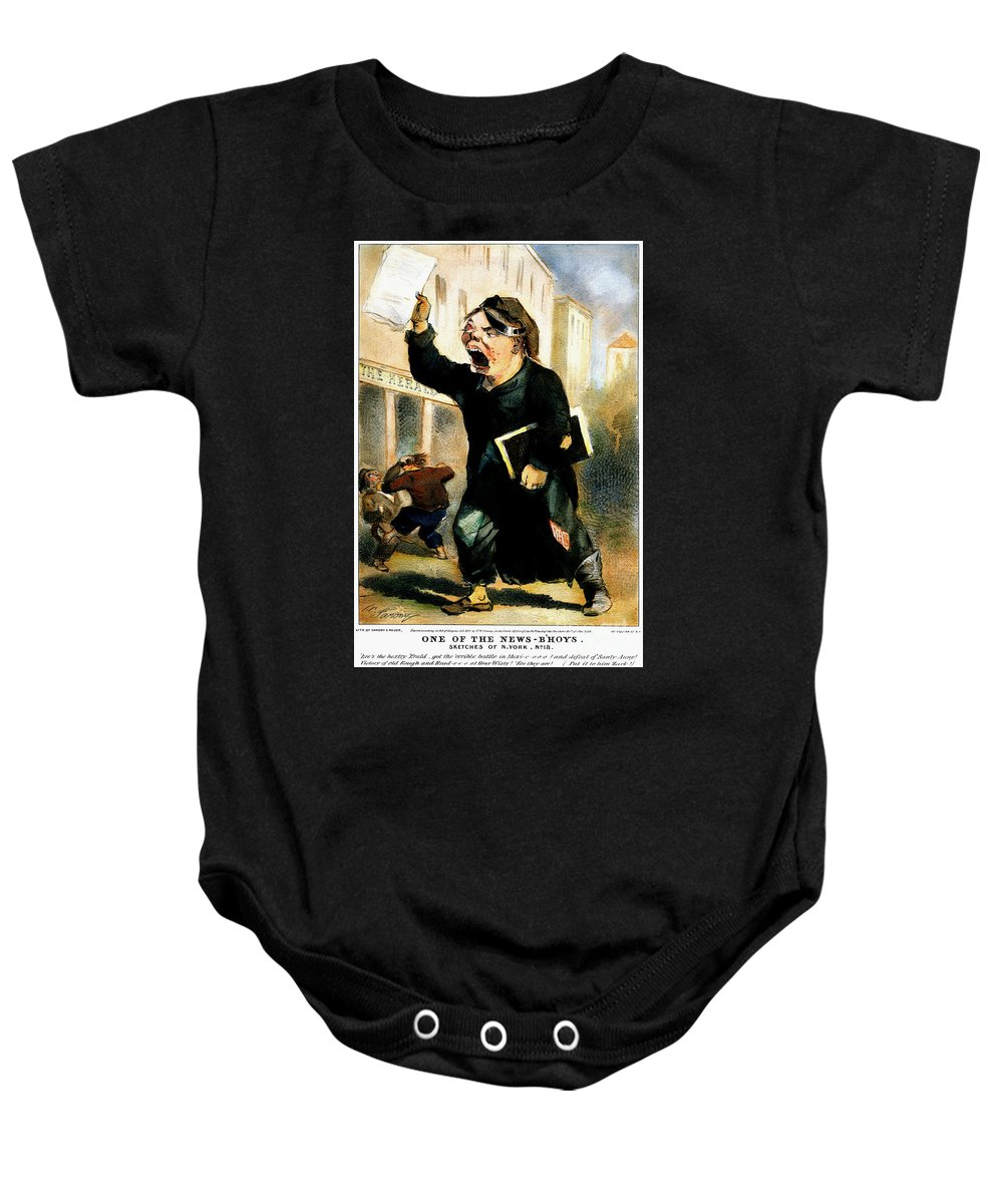 1847 Baby Onesie featuring the photograph Newsboy Shouting, 1847 by Granger